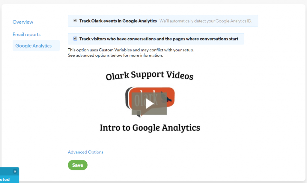 Finalizing Olark Google Analytics Setup