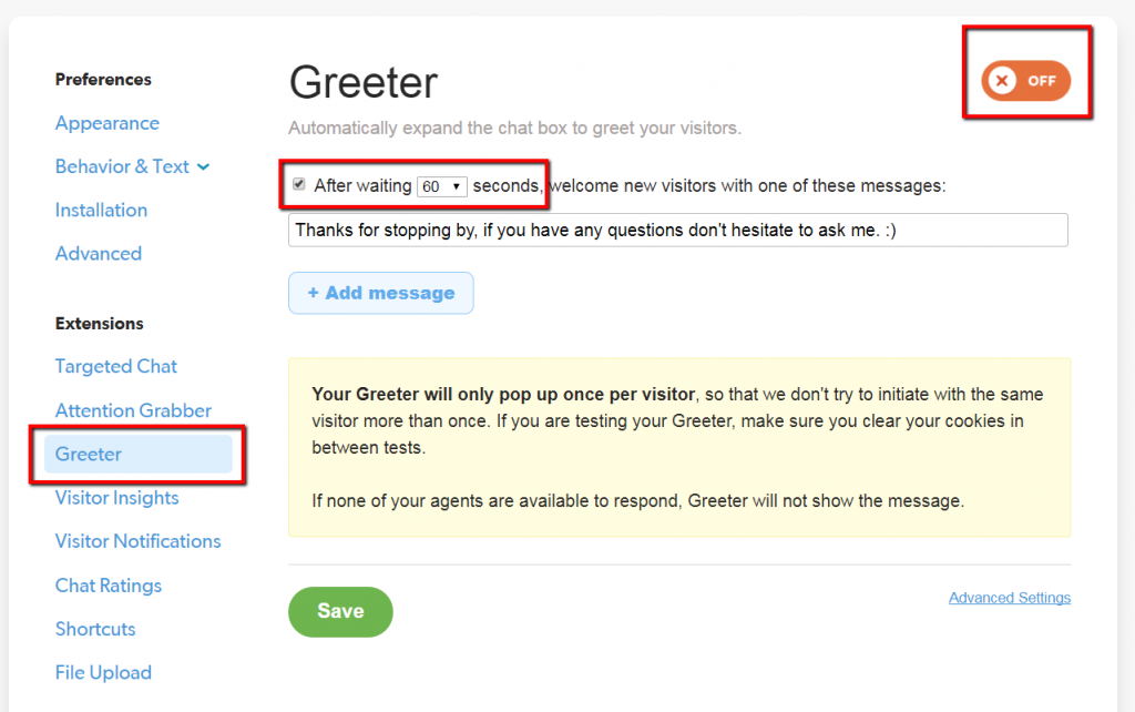auto greeter example for olark live chat