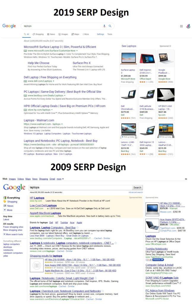 10 years of Google SERP change